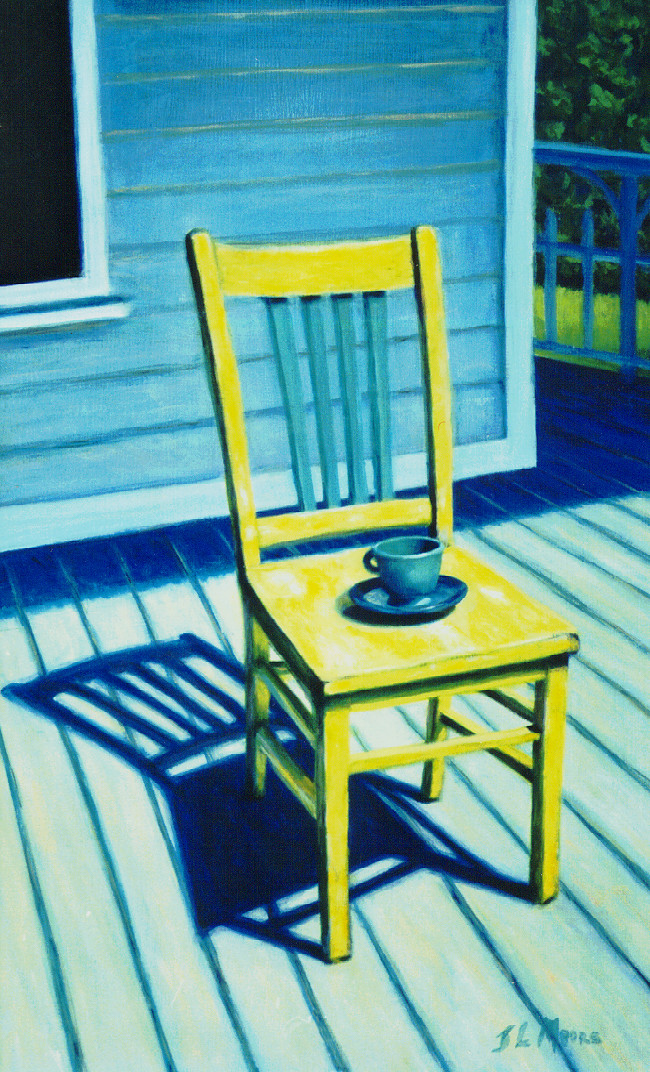 "Monica's Porch   24"" x 18 Oil on Mahogany"