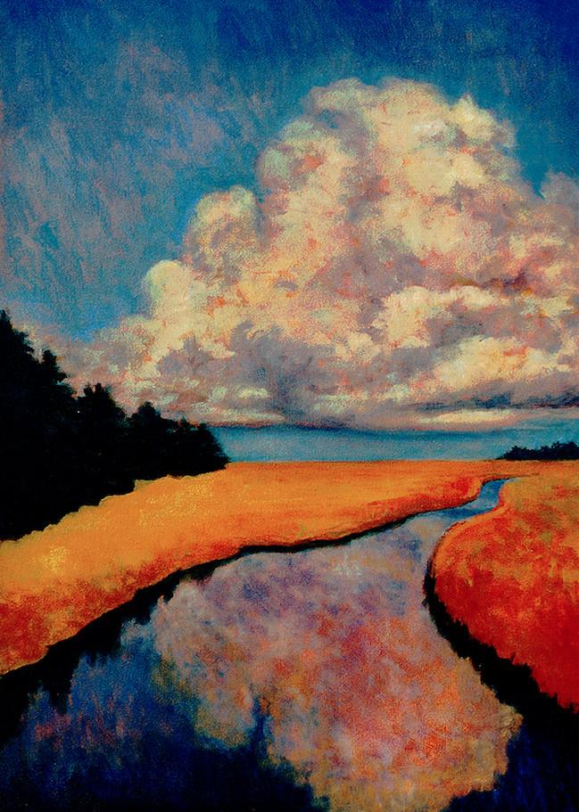 "Salt Marsh (Cloud & Estuary)   28"" x 20"" Oil on Canvas"