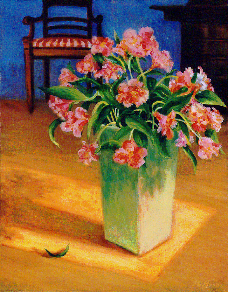 """Flowers in Entry   28"""" x 22"""" Oil on Canvas"""