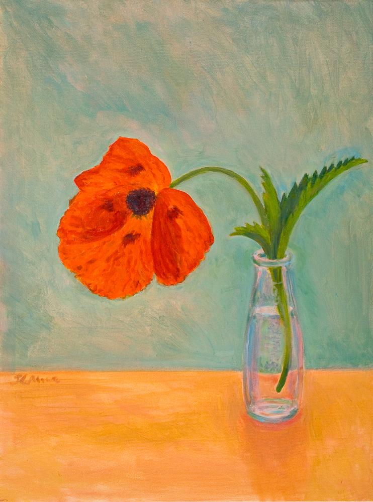 "Poppy in Sanbitter Bottle   24"" x 18"" Oil on Canvas"