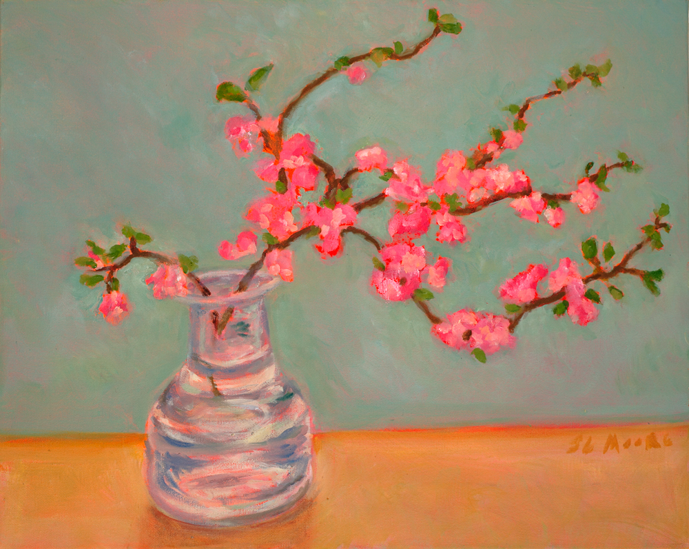 """Quince Blossoms   16"""" x 20"""" Oil on Canvas"""