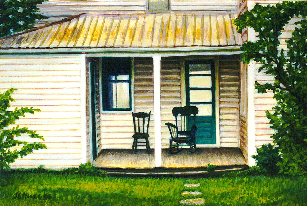 "My Grandfather's Porch   16"" x 24"" Oil on Mahogany"