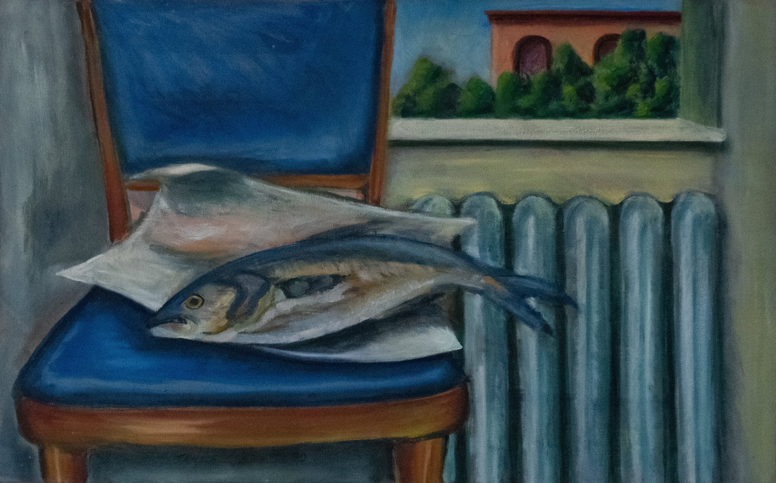 "Fish, Chair & Radiator - 2nd Street   20"" x 32"" Oil on Canvas"