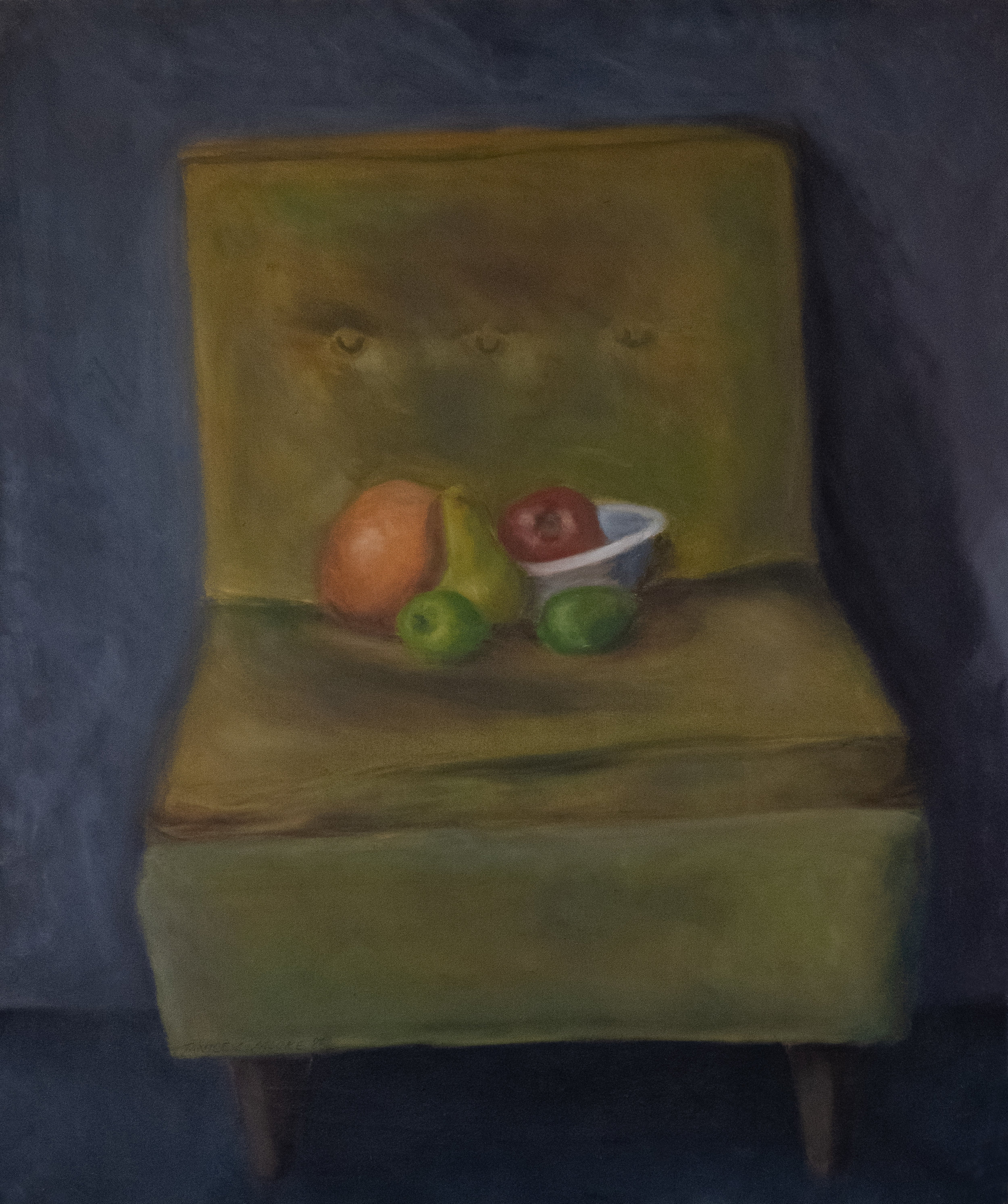 "Old Studio Chair & Fruit   36"" x 30"" Oil on Canvas"