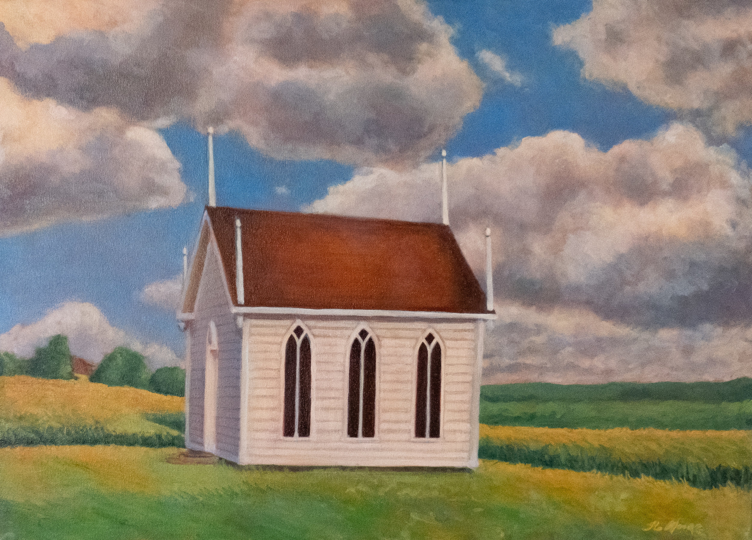 "Acadian Church at Grande Pré   20"" x 28"" Oil on Canvas"