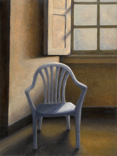 "$7 Plastic Chair   16"" x 12"" Oil on Birch Panel"