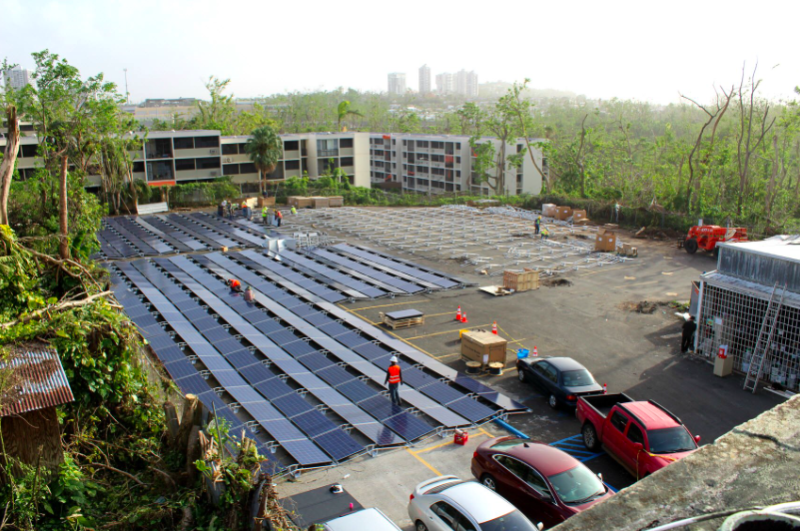 Image of Tesla's solar+storage system outside of Hospital del Niño. - Tesla