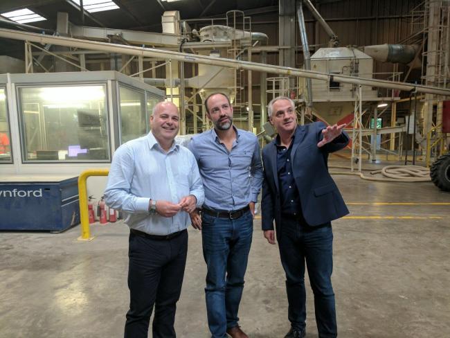 Grangemouth plant manager Stuart Banks, Arensis CFO Nick Tarditti, Arensis & Entrade CEO Julien Uhlig.