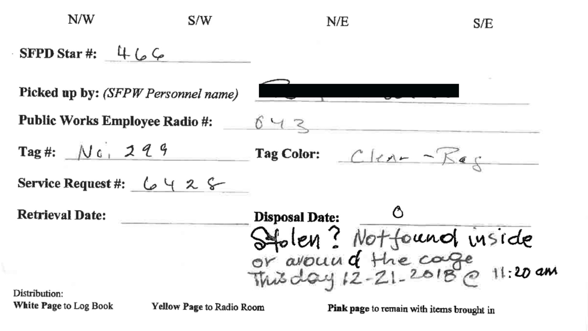 """DPW """"Bag and Tag""""/Homeless Property Information Record. Multiple forms are marked """"stolen"""" or """"not found"""", which means they are stolen while in the city's custody. 2018."""