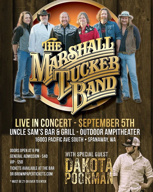 I HEARD IT IN A LOVE SONG!  SAVE THE DATE! Better yet....buy your tickets!!!! @dakotapoormanmusic and the @marshalltuckerband Sept. 5 at Uncle Sam's American Bar & Grill!  Ticket Link in Bio - 🎫