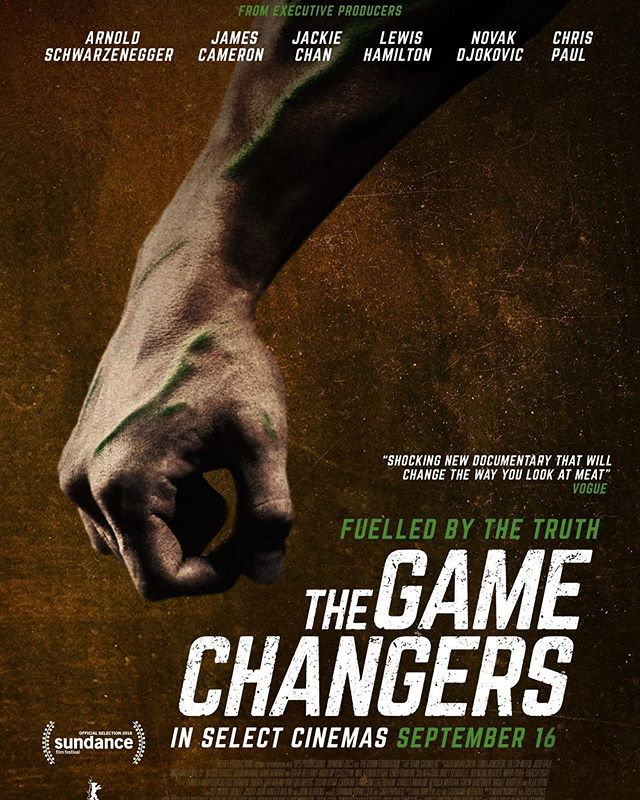 The Game Changers.  In theaters tomorrow.  Congrats @psihoyos and @jhunternolan.  Great to work with you and be a part of this amazing film/ movement.