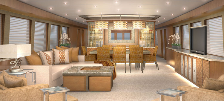 Main salon design concept for yacht refit 116' M/Y NO LIMIT featuring hidden storage in all furnishings, plus a coffee table doubles as hidden storage with drawer and ottoman seating including additional storage.