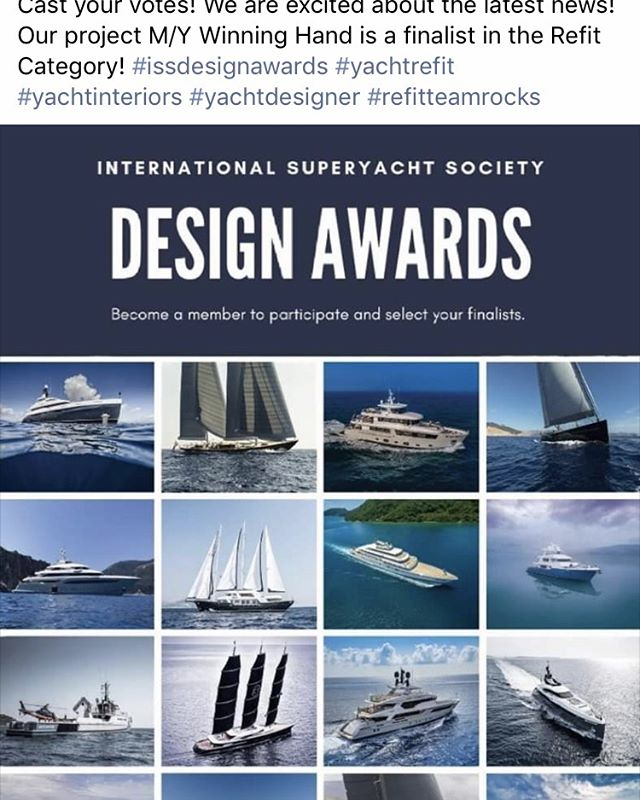 Super happy to announce our completed refit project M/Y Winning Hand is a finalist in the refit category, check out all the project photos on the International superyacht societys website- @issdesignawards taking place at the Ft LAUDERDALE Boat show! #designawards #yachtbuilder #yachtbroker #yachtcaptian #yachting #yachtlife #yachtstyle #yacht #luxurylifestyle #yachting #flibs #superyachtrefit #superyacht #refitteamrocks #yachtparty #yacht