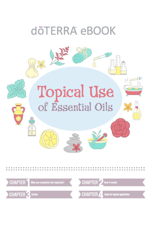 "Topical Use of Essential Oils - Click here to be redirected to doTERRA's website to download this ebook ""Topical Use of Essential Oils"".This eBook is available as a pdf download, as well as, an audio book!Chapter 1: Why use essential oils topically?Chapter 2: How it worksChapter 3: SafetyChapter 4: Ideas for topical application"
