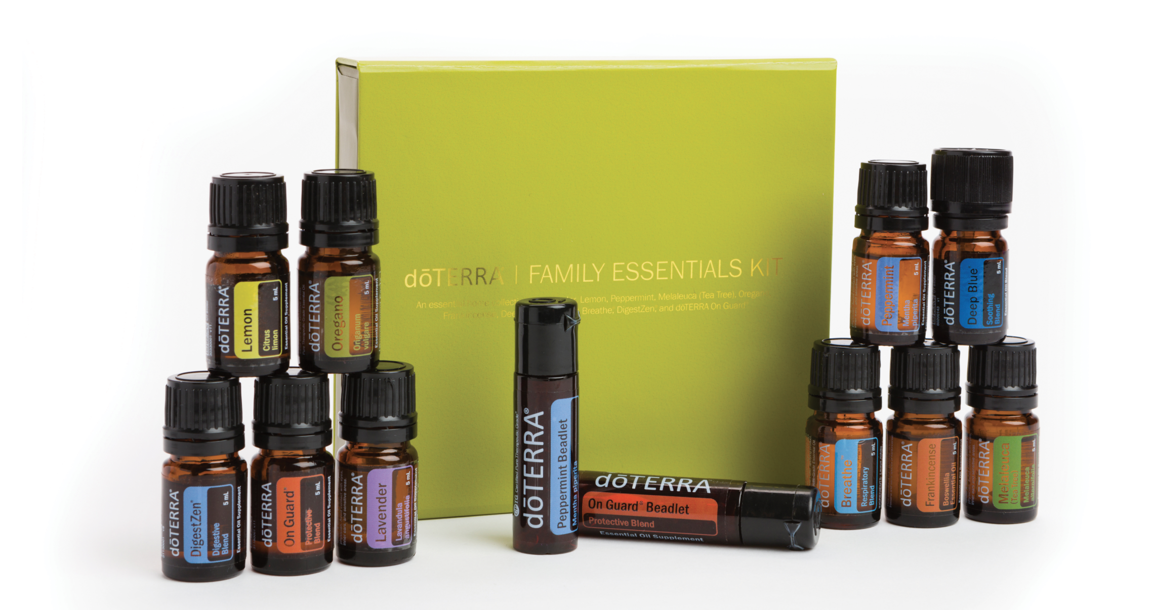 Family Essentials & Beadlets Kit - A perfect addition to every home, the Family Essentials Kit and Beadlets Enrollment Kit supports a healthy and uplifting family environment.Essential Oils - 5 mL:Lavender, Lemon, Peppermint, Melaleuca, Oregano, Frankincense, Deep Blue®, doTERRA Breathe®, DigestZen®, doTERRA On Guard®Other Products:Peppermint Beadlets, doTERRA On Guard® Beadlets, The doTERRA Essentials Booklet