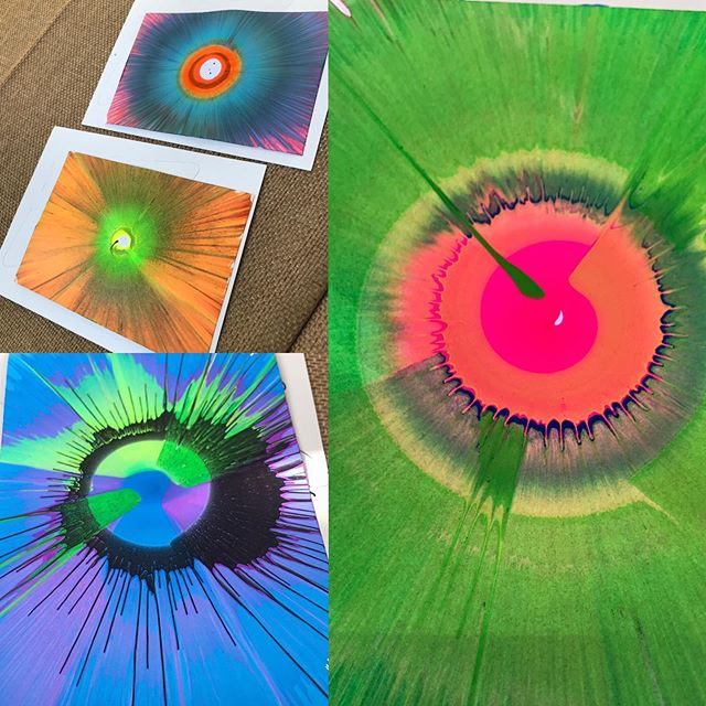 Our spin art is a great interactive experience for any type of event. This was for a 7th birthday party but the adults were into it as much as the kids.  We can do spin art cards, spin art t shirts, spin art bags, glasses and flying disks. #spinart #birthdayparty #interactive #takeaway #corporateevent #tradeshow #fun4events #foodphotosfun #activation