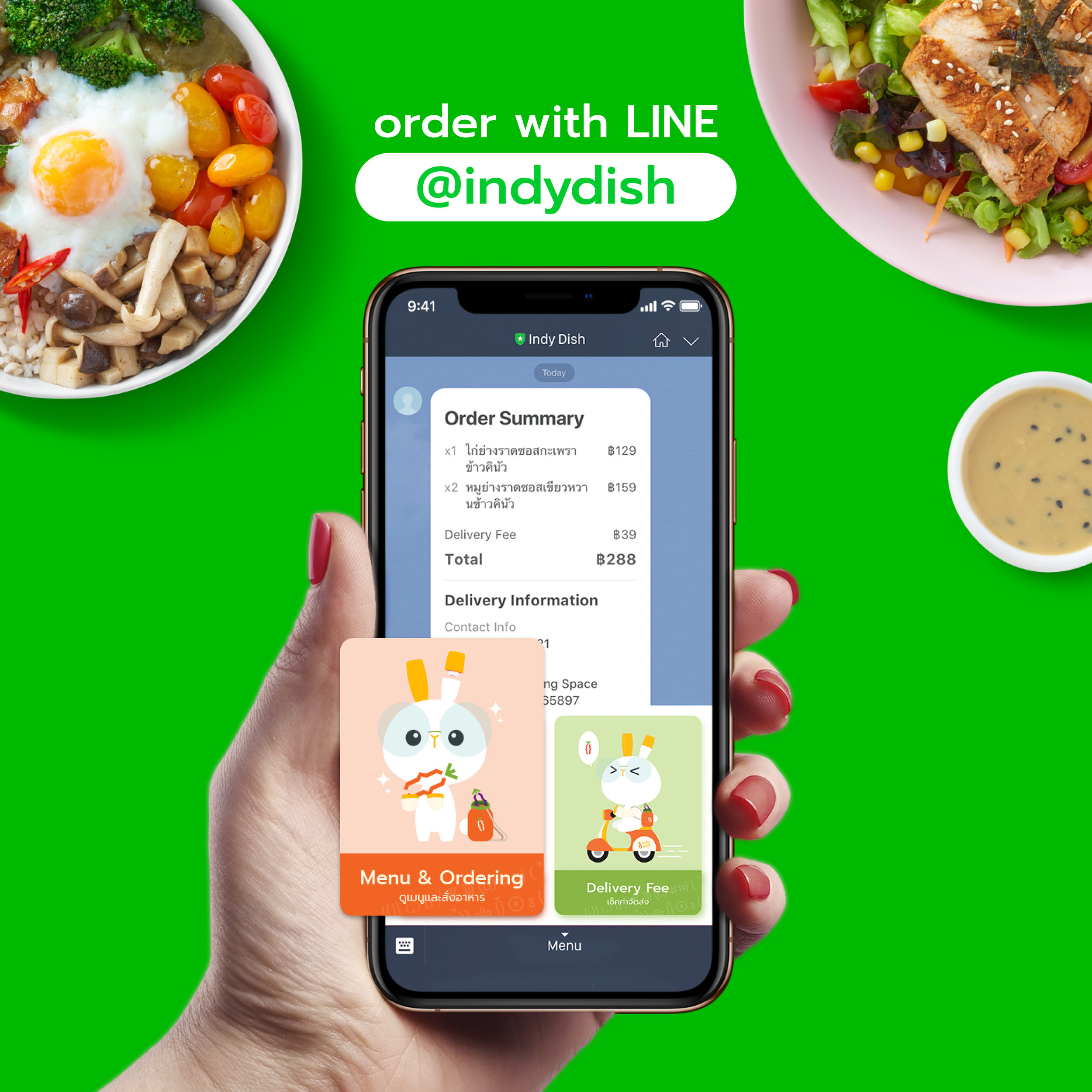 Simple ordering through.LINE - Enjoy super easy ordering through our line interface. Pay with cash, credit card, or prompt pay