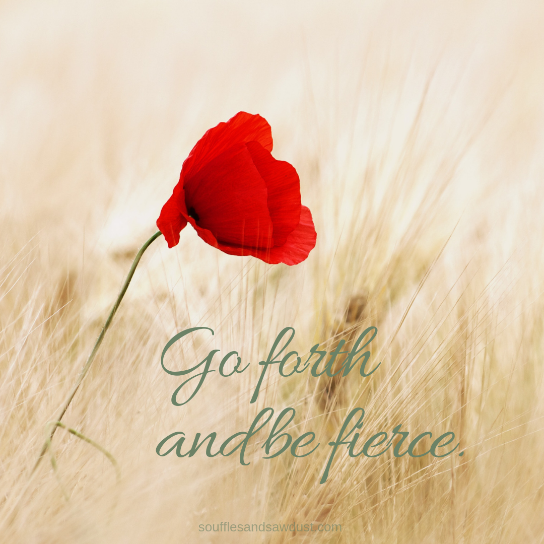 """motivational quote, positive quote """"go forth and be fierce"""" from the lifestyle blog, soufflesandsawdust.com"""