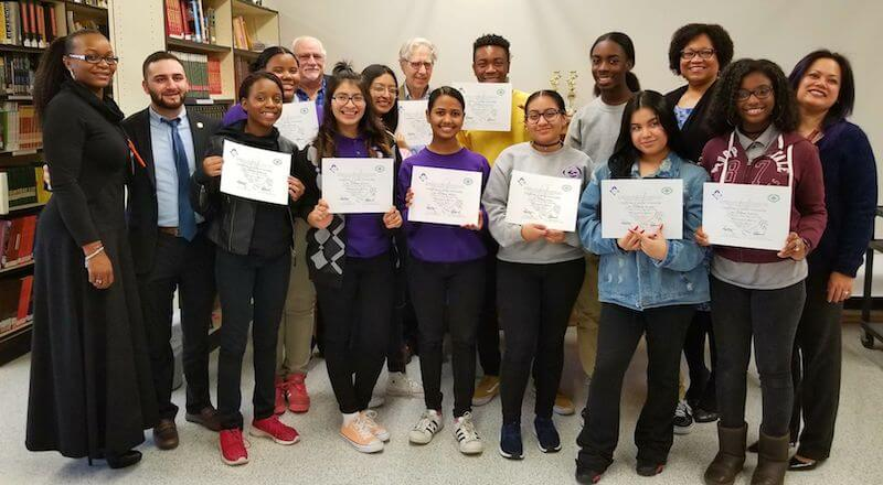 Rosa Parks Arts High School students with Certificates of Global Citizenship