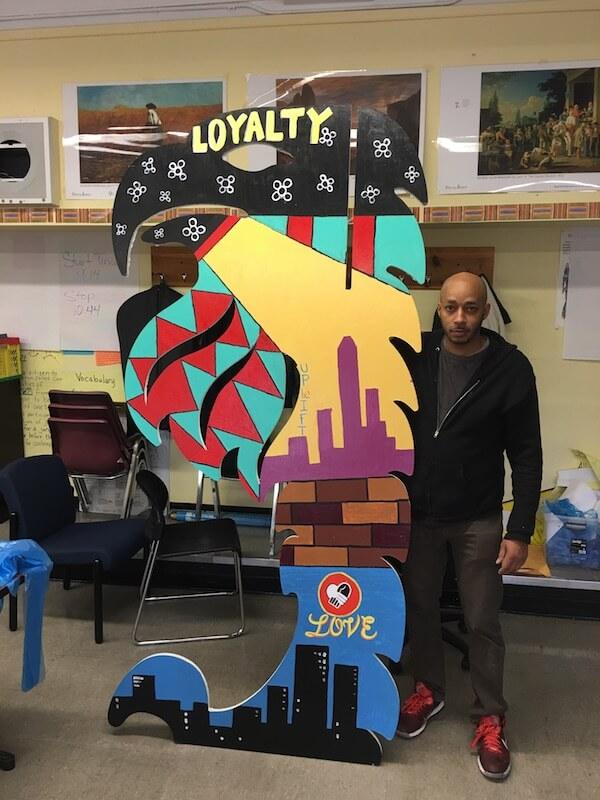 Newark Artist Malik Whitaker coached Uplift students.
