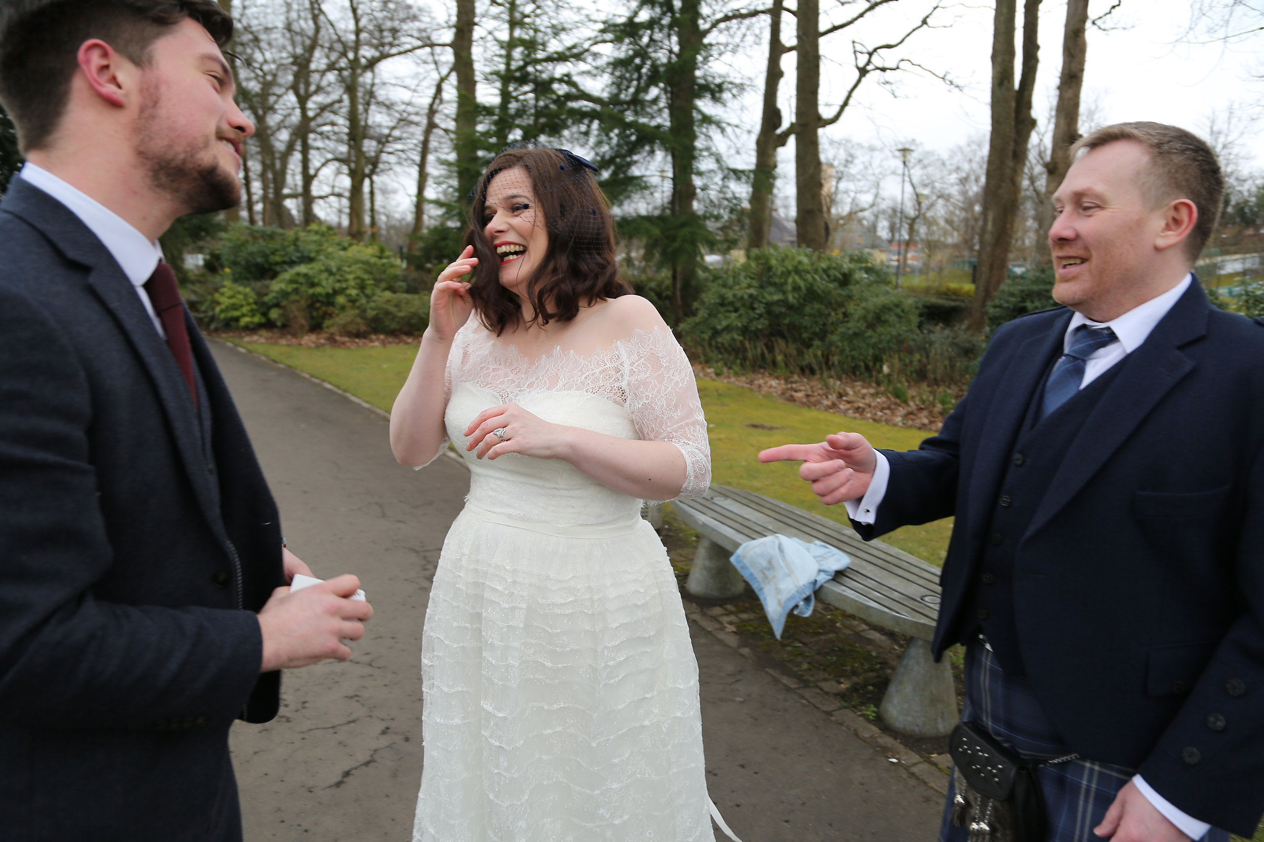 Bride, Groom & Magician In Scotland