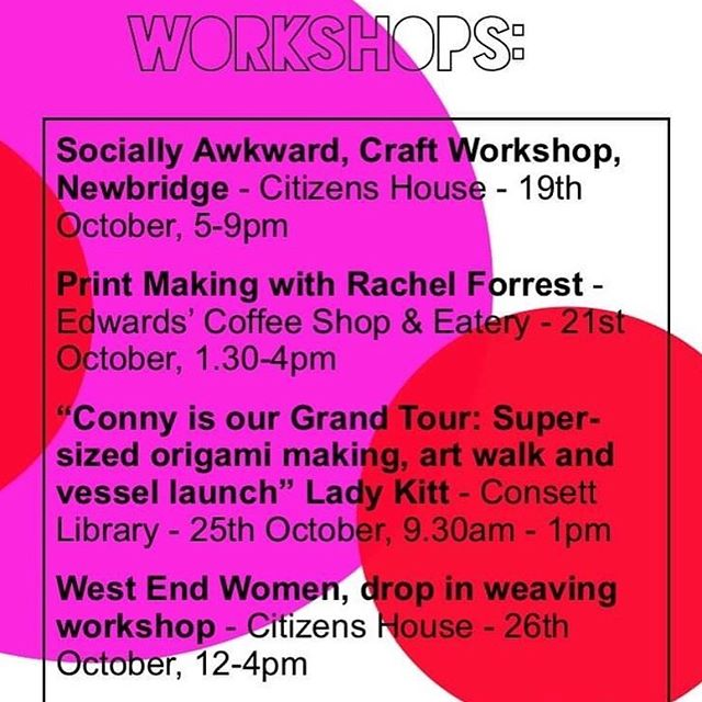 FULL WORKSHOP SCHEDULE ⭐️ To reserve a place on workshops that require bookings or to find out more about our exhibitions / venues, please see our website www.connyarts.com for further details ☺️💜 ⭐️ (All our exhibitions and workshops are free!) ⭐️ #workshops #festival #consett #connyartfestival #communityart #socialart #whatsonnortheast #countydurham #newcastle #shotleybridge #artfestival #leadgate #connybongo #exhibition#costadelconsett #northeastartist