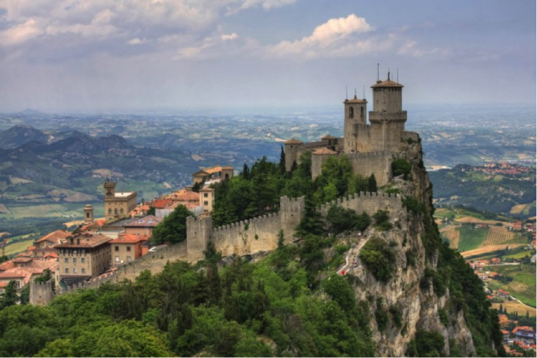 San Marino Tour - Bring your passport and visit one of the smallest counties in the world. San Marino is known for its walled old town and medieval cobblestone streets. It's an iconic picture, this small republic perched high on the hill. Also, his little Italian brother, San Leo merits a visit too.