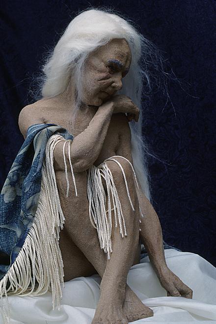 "The Artist's Model OOAK 20"" Stoneware & Fiber 1997"