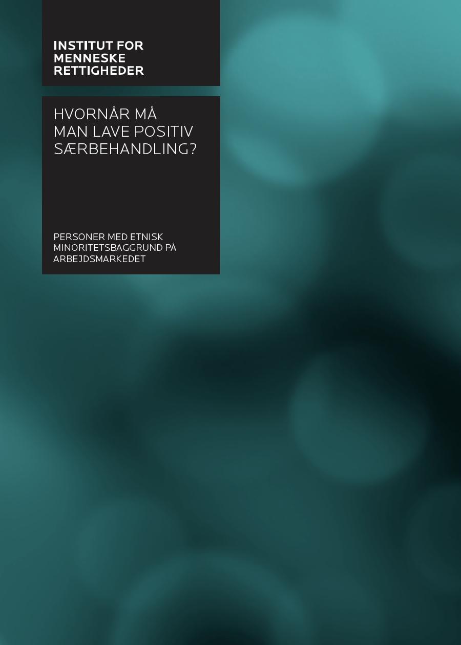 Hvornår må man lave positiv særbehandling? - (When Is Affirmative Action Legal?)Danish Institute of Human Rights (2017), 82 p.