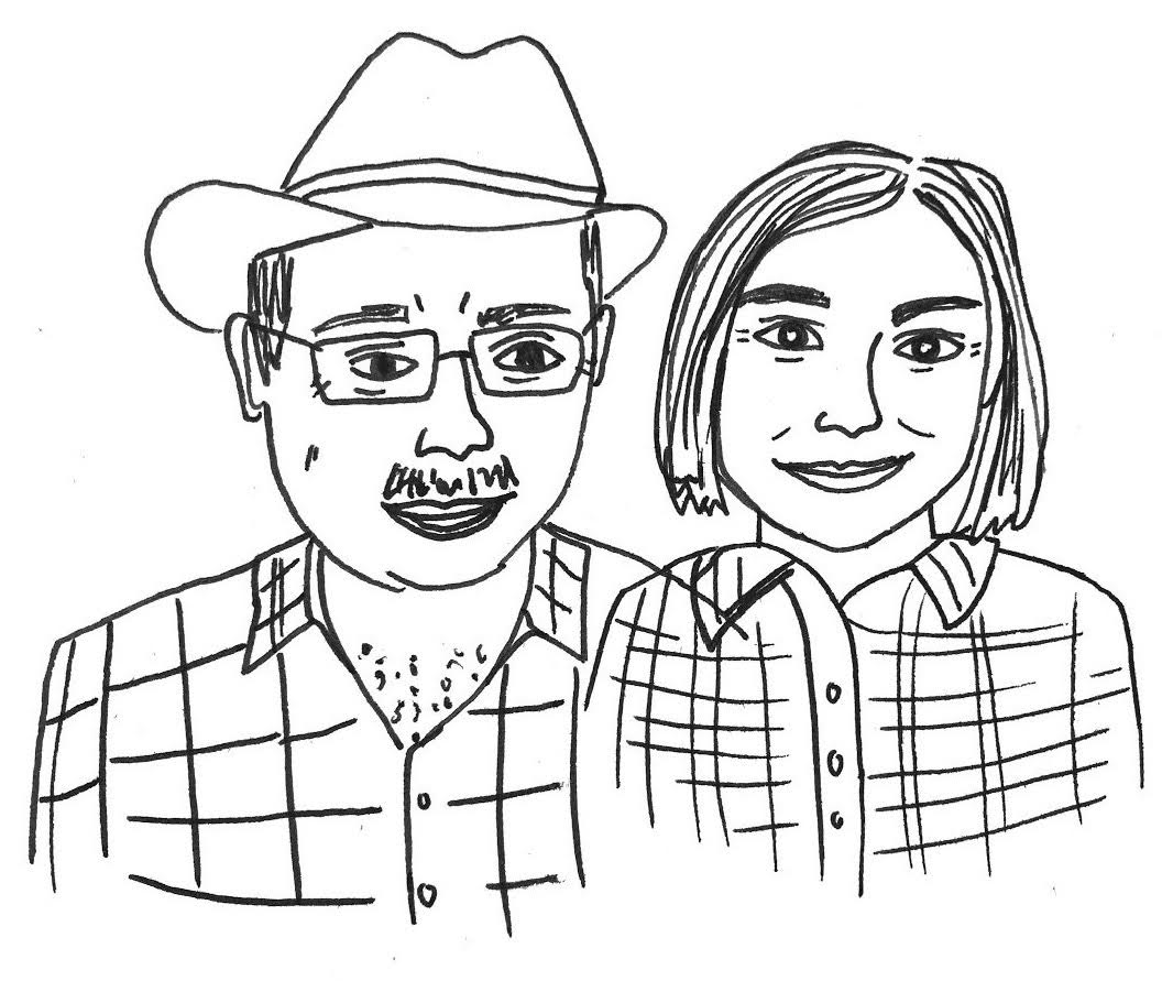 Karlee Patton, Portraits at Parties' sketch of owners, Bob & Lynette