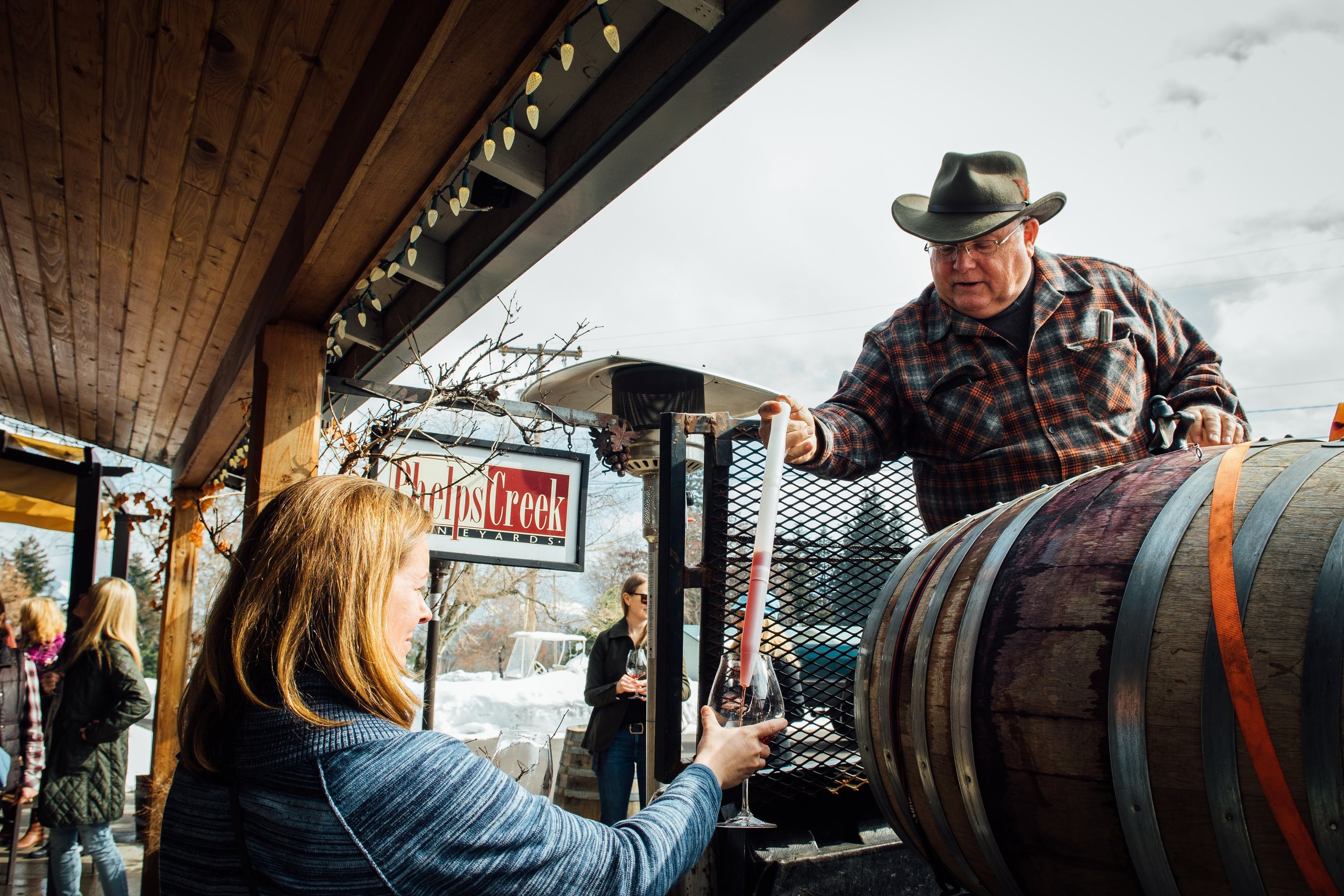 Owner, Bob Morus hosting barrel tasting at our March Release Party