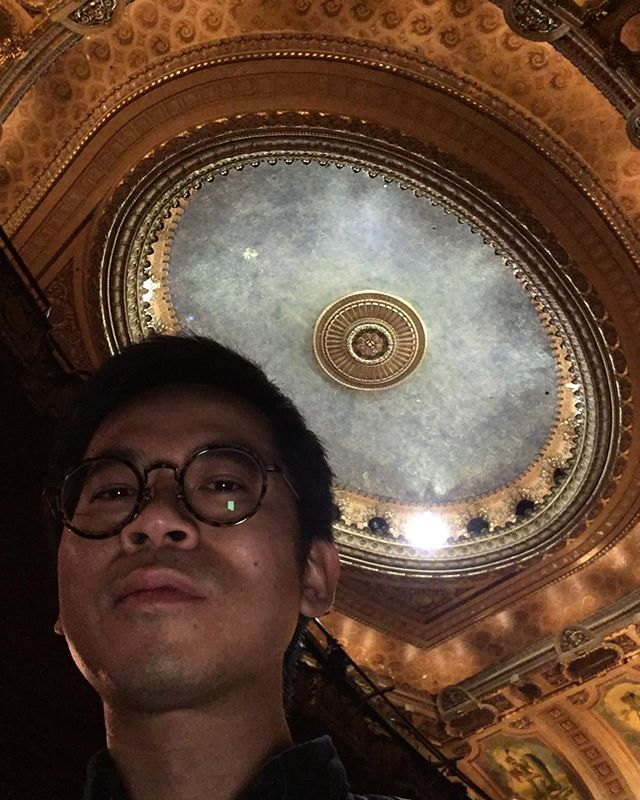 i been informed this is the wrong angle for a selfie but I'm tryna showcase how pretty this theater is and how recently i trimmed my nose hairs. hope to be back soon, chi city! join my email list for show announcements (link in bio)