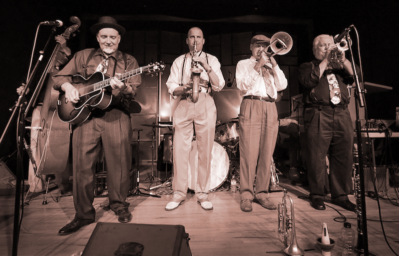 Dave Stuckey & The Hot House Gang - December 31st • NYE • Carrillo BallroomSanta Swing welcomes back Dave Stuckey & The Hot House Gang. These talented musicians stomp and swing standards and not-so-standards from the 1920s & 30s.