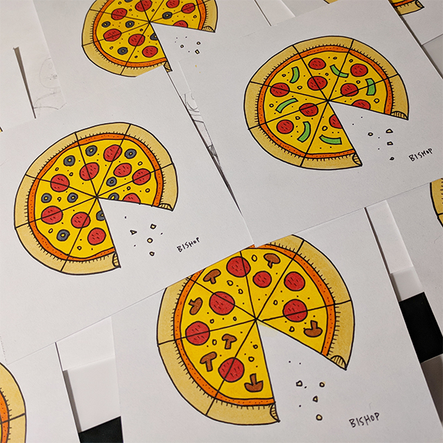 Four Inch Ink Pizzas