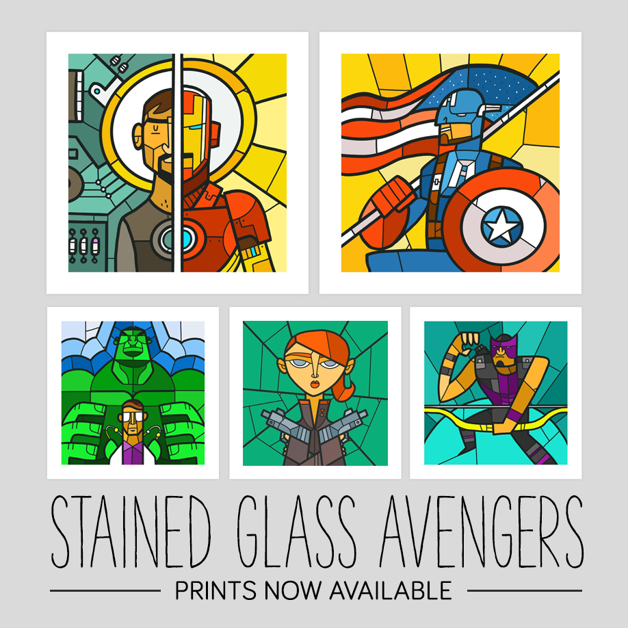 Stained Glass Avengers Prints