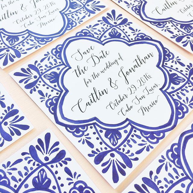 Flashback Friday to some of my favorites 💙 . . . . #watercolor #savethedate #mexicowedding #blueandwhite #weddingvenue #mexicantile #fiestawedding #fiestainvitations #weddinginvitation #mexicowedding #dscolor #livecolorfully #soloverly #thatsdarling #pearlygatesdesigns #watercolorinvitation #cabowedding