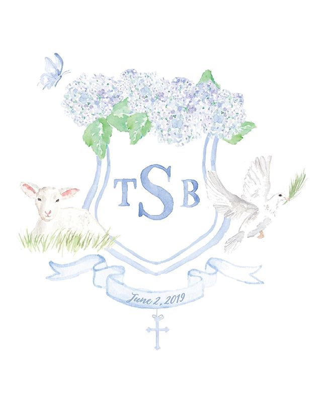 A baptism crest for one of the sweetest families 💙 Wish I could keep hydrangeas like this in my house, but I hear you have to like water them or something responsible and crazy like that?! . . . #pearlygatesdesigns #custommonogram #customcrest #babyboy  #custominvitations #watercolor #watercolorcrest  #monogram