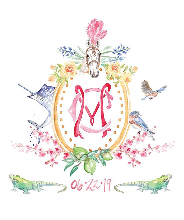 I love how this crest tells the love story of this bride and groom! I'll be sharing all the significance in my stories later this week— in the meantime, happy wedding weekend c+m! . . . #watercolor #watercolorcrest #savethedate #nycwedding #newyorkwedding #watercolormonogram #customcrest #weddingvenue #monogram #watercolornvitations #weddinginvitation #savethedate #dscolor #livecolorfully #soloverly #thatsdarling #pearlygatesdesigns #watercolorinvitation