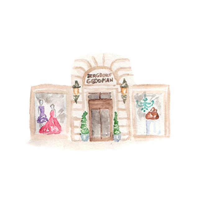 Teeny tiny Bergdorfs . . .  #mapicon #illustration #weddingmap #watercolor #bergdorfgoodman #newyorkcity #flashesofdelight #watercolor_daily #pearlygatesdesigns #dailydoseofpretty #fifthavenue #fashionblogger