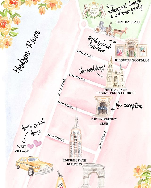 What is your favorite nyc spot that would be a must on your map? Loved watercoloring this for a brides big 🍎 wedding!