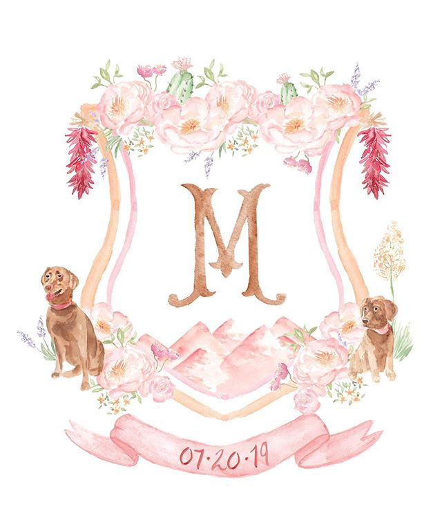 Chili pepper ristras, mountains and pups, happy wedding day to this santa fe couple! . . . #sendmoremail #snailmail #pearlygatesdesigns #dailydoseofpaper #weddingcrest #wedding #handpainted #watercolor #watercolour #crest #customcrest #monogram #weddinglogo #heraldry #sodarling #soloverly #petportrait #santafewedding #santafe #watercolorcrest #weddingflowers