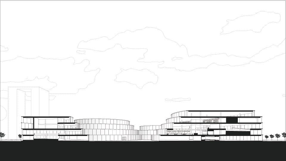 Design - 各分野同士の繋がりを山・山脈・等高線をモチーフてデザインする。各分野ごとに山を作り、それらを山脈のように一つの建物にする。そうすることで他分野との接点を作り、多様な視点、学びからクリエイティブ思考を学ぶことができると考えた。