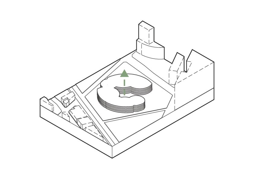 層を作るようにフロアを配置する。そうすることで、上下の連続的な繋がりを作る。