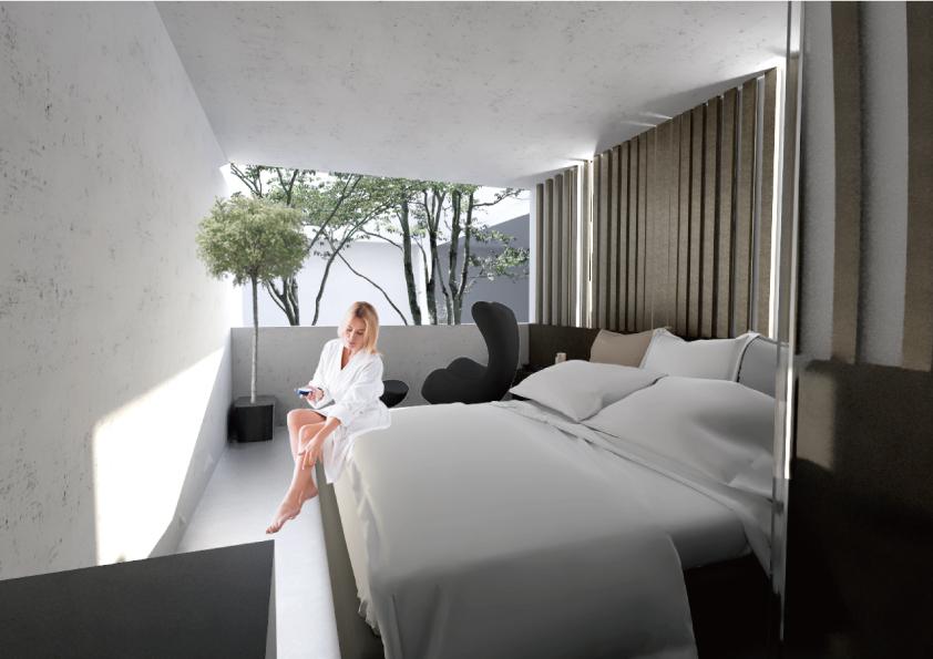 客室のイメージ。照明は最小限に抑え、夜は暗くなれば自然と眠りに、朝は日の光で目が覚める設計にした。