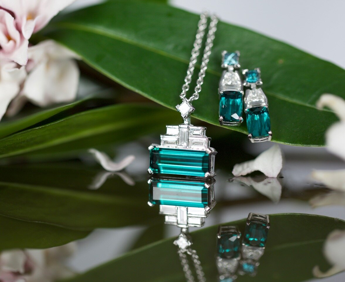 Art Deco inspired, 18k white gold, Brazilian tourmaline, blue and white diamond pendant and earrings. I love these! Rebecca's stunning jewellery graced the front cover of 'The Australian Gemmologist' recently. Image: Tallulah