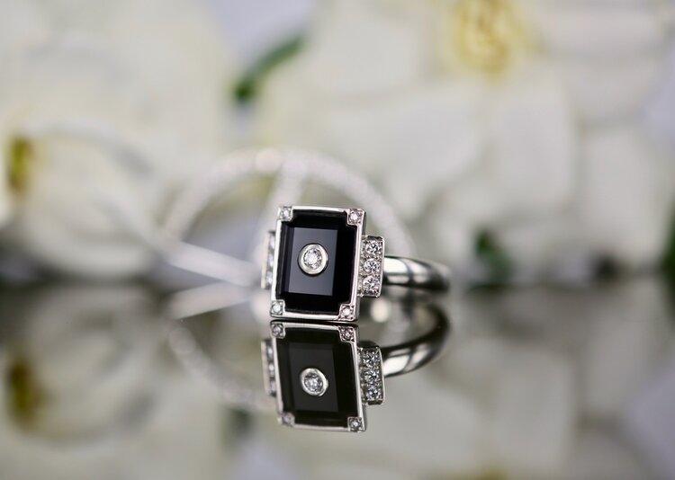 18k white gold, black spinel and diamond ring. Image: Tallulah