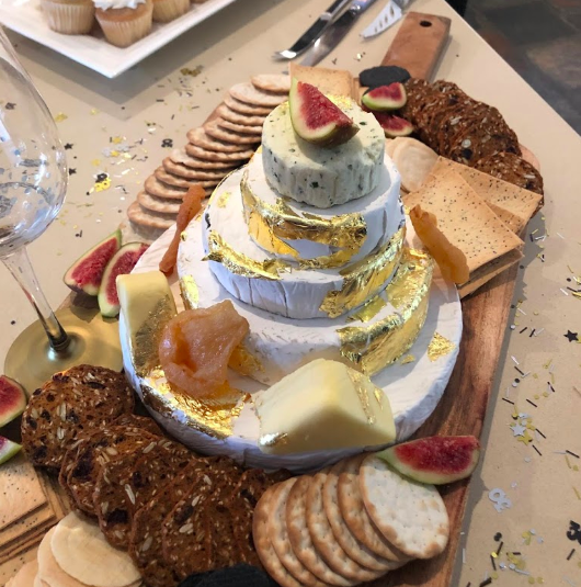 A special birthday cheese tower cake.