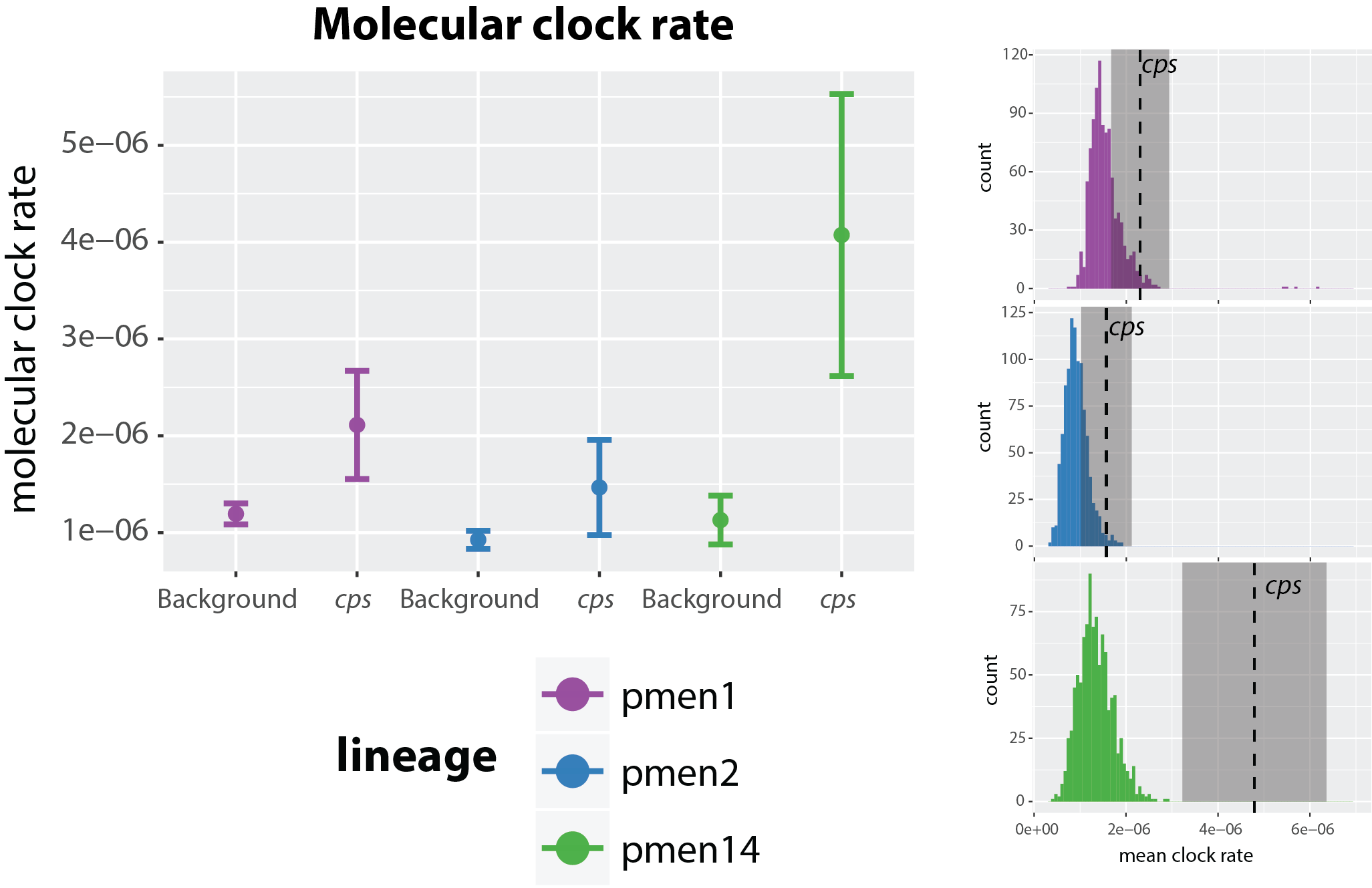 Comparison of the molecular clock rate in three pneumococcal lineages: PMEN1, PMEN2 and PMEN14. (From [1].)