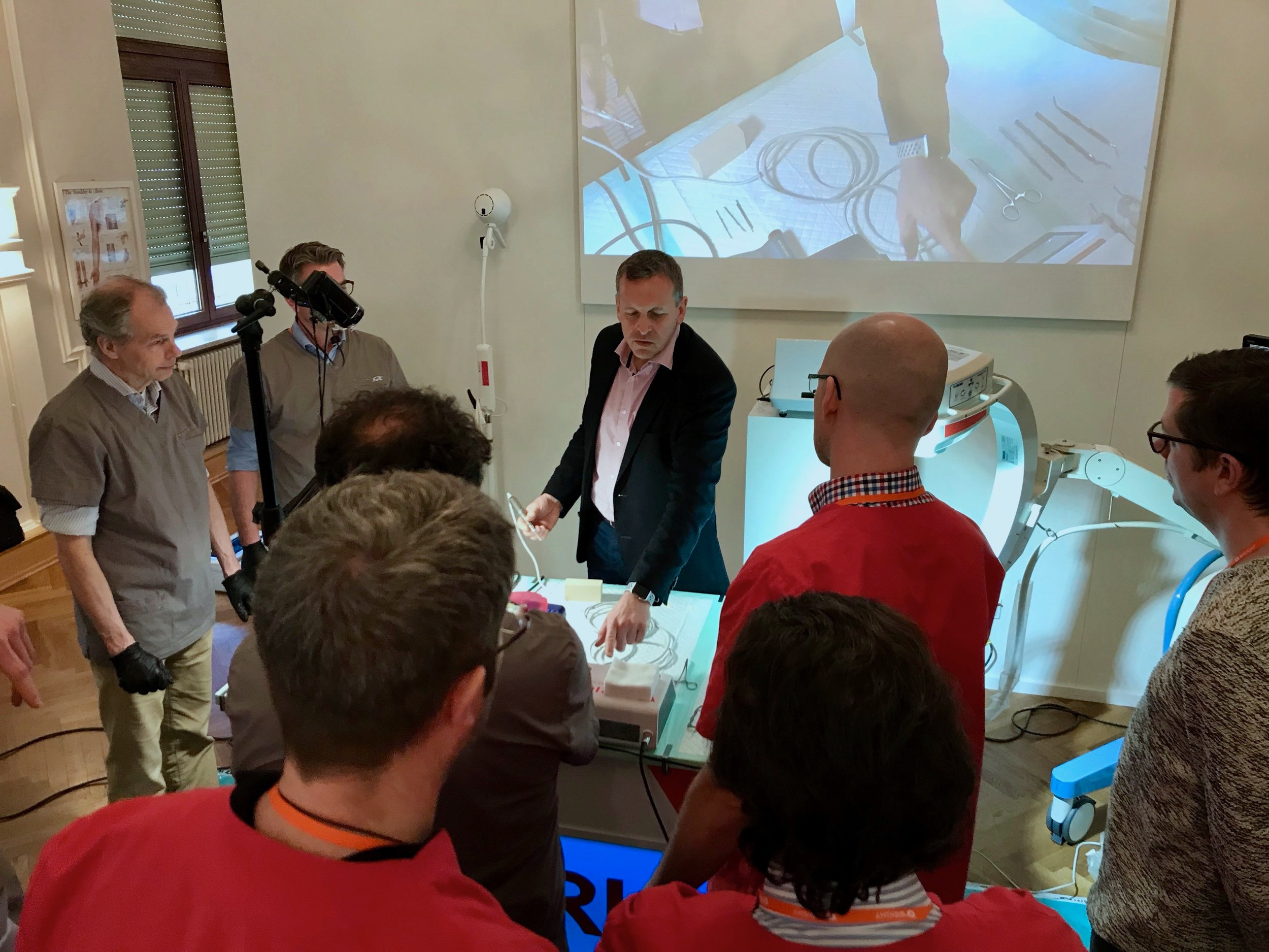 Mr Redfern training surgeons at his course in Germany