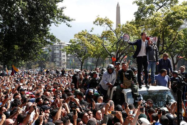 Juan Guaido addresses supporters on the 30th April